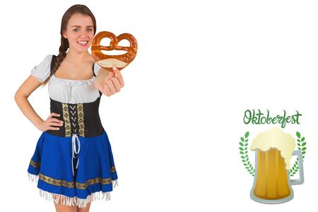 pretzel: Pretty oktoberfest girl holding pretzel against oktoberfest graphics
