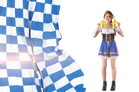 jugs: Oktoberfest girl holding jugs of beer against blue and white flag