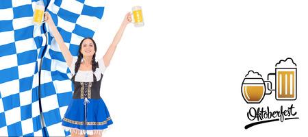 tankard: Pretty oktoberfest girl holding beer tankards against oktoberfest graphics