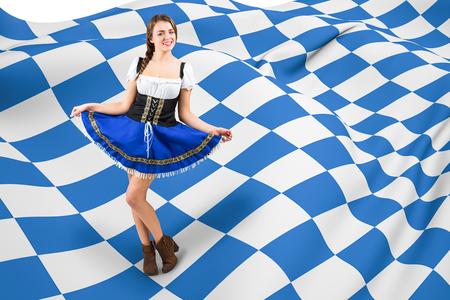 checker flag: Oktoberfest girl spreading her skirt against blue and white flag