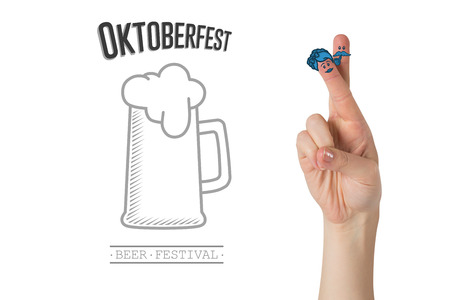 german culture: Oktoberfest character fingers against oktoberfest graphics