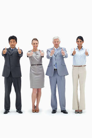 thumbsup: Multicultural business team with their thumbs-up against white background