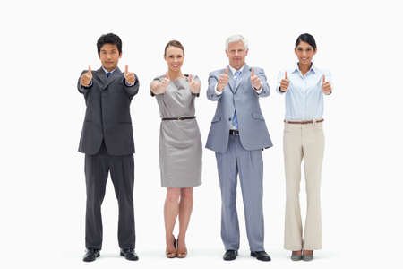 horizontal format: Multicultural business team with their thumbs-up Horizontal format against white background