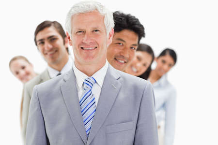 single line: Business people smiling in a single line against white background