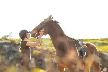 horse love horse kiss animal love: Happy woman with her horse in the countryside