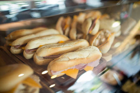 display case: Display case of fresh sandwiches in the cafe LANG_EVOIMAGES