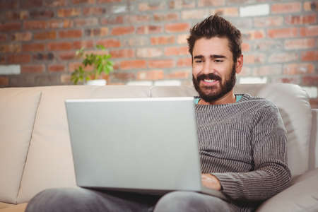 technology: Happy man using laptop while sitting on sofa at home LANG_EVOIMAGES