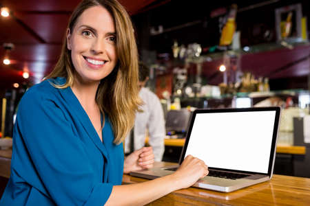 beer after work: Smiling woman having a drink using laptop at the bar
