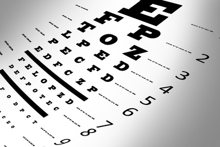 examen de la vista: Una carta de prueba de la vista del ojo con múltiples líneas