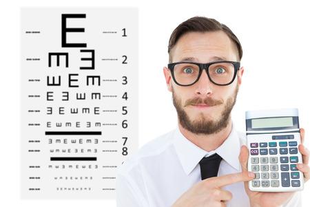eye test: Geeky businessman pointing to calculator  against eye test