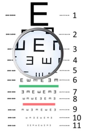 eye test: Magnifying glass against eye test Stock Photo