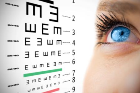 eye test: Blue eye looking up on female face against eye test