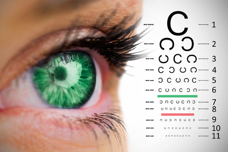 eye test: Green eye looking on female face against eye test
