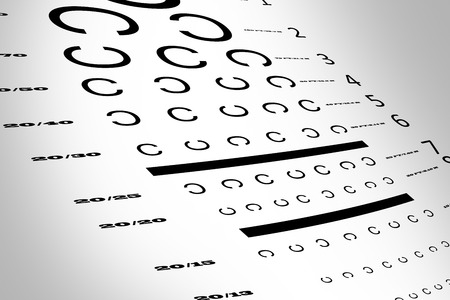 sense of sight: An eye sight test chart with multiple lines
