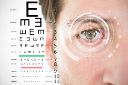 sense of sight: Close up of unsmiling man against black and grey interface