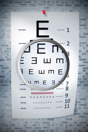sense of sight: Magnifying glass against grey brick wall