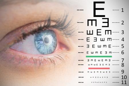 sense of sight: Close up of female blue eye against eye test Stock Photo