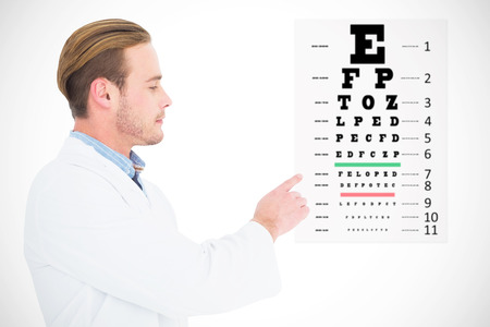sight chart: Optician in coat pointing eye test against eye test