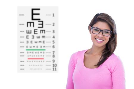sense of sight: Portrait of beautiful woman wearing geek glasses against eye test