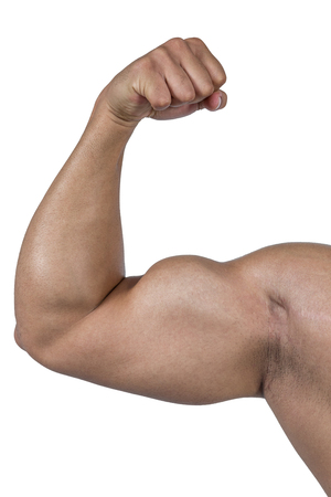 flexing: Muscular man flexing for camera on white background Stock Photo