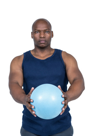 man working out: Muscular man working out with weight on white background