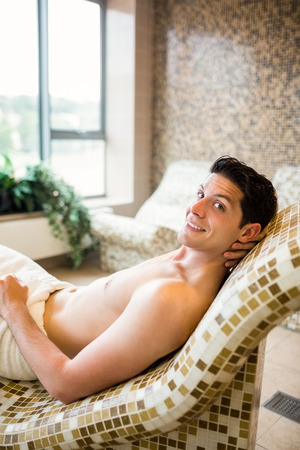 man in suite: Handsome man relaxing in thermal suite at the spa Stock Photo