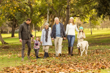 generation: Smiling extended family walking together on an autumns day