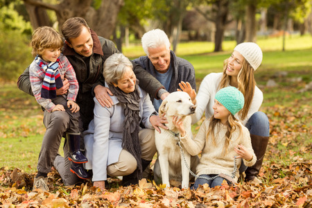 Portrait of an extended family on an autumns day