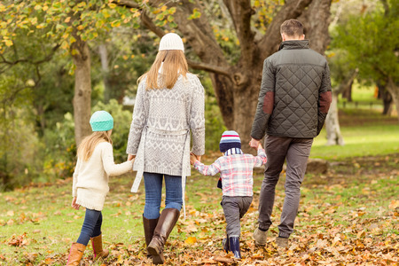 children playing: Rear view of a young family on an autumns day