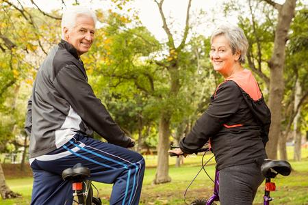 Senior paar in het park op een herfst dag Stockfoto