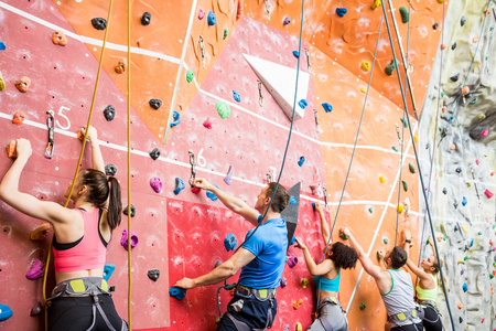 fits in: Fit people ready to rock climb at the gym
