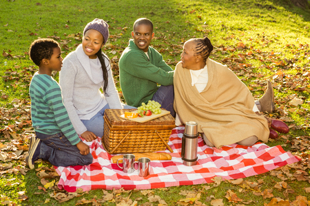 familia pic nic: La familia feliz con un picnic en un parque Foto de archivo