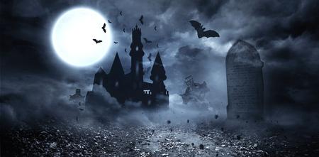 Pipistrelli generato digitalmente volano a Dracula castello Archivio Fotografico