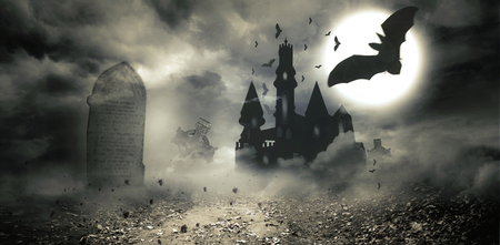 digitally generated: Digitally generated Bats flying to draculas castle Stock Photo