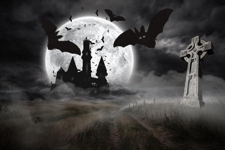 dracula: Digitally generated Bats flying from draculas castle