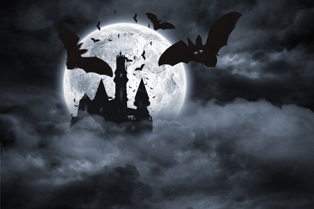 digitally: Digitally generated Bats flying from draculas castle