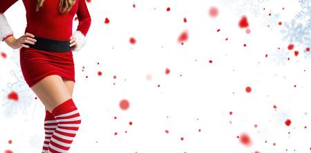 pere noel sexy: Mi, section de sexy Santa Girl contre motif de flocon de neige Banque d'images