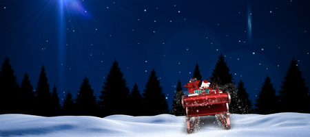 lucero: Santa flying his sleigh against bright star in night sky