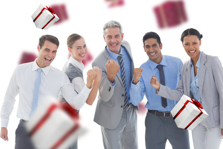 clenching fists: Portrait of successful business people clenching fists against white and red gift box