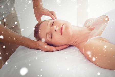 neck massage: Snow against woman receiving neck massage