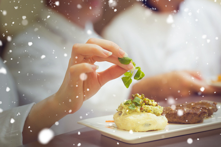 steak beef: Snow against female chef garnishing a plate with steak Stock Photo