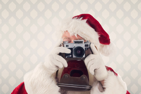 picture: Santa is taking a picture against room with wooden floor