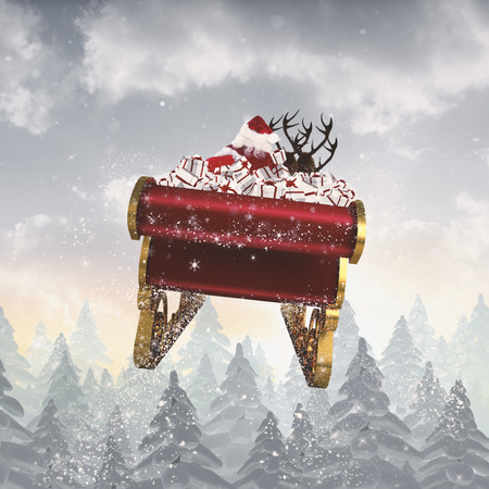 santa claus: Santa flying his sleigh against snow falling on fir tree forest