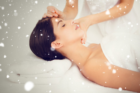 acupuncture: Snow against woman in an acupuncture therapy