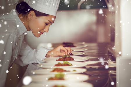 garnishing: Snow against concentrated female chef garnishing food in kitchen Stock Photo
