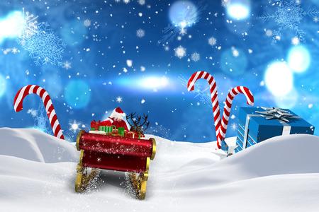 papa noel en trineo: Vuelo de Santa en su trineo contra escena de Navidad con los regalos y bastones de caramelo Foto de archivo