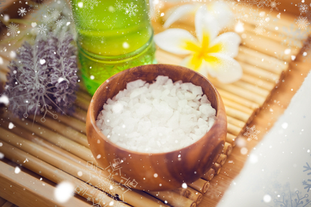 oil massage: Snow against salt scrub and oil massage Stock Photo