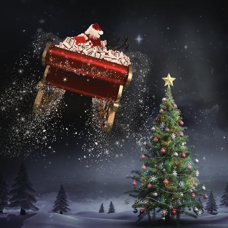 Sankt fliegt mit seinem Schlitten gegen Wald bei Nacht mit Weihnachtsbaum