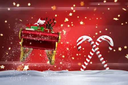 santa flying his sleigh against christmas candy canes on red stock photo 47307433 - Christmas Candy Sleigh