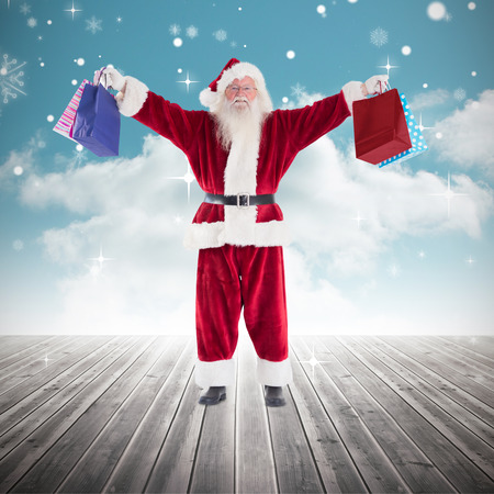 carrying: Santa carrying gifts against cloudy sky background